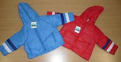 2 x VINTAGE 1980's UNUSED KIDS PADDED ANORAKS AGE 12-18 MONTHS - BLUE & RED