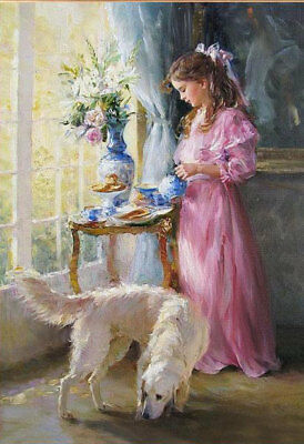 ZWPT650 pink long dress girl&dog flowers hand painted art oil painting on canvas