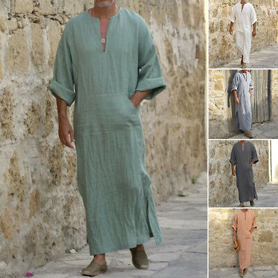 Mens Retro Long Sleeve Ethnic Robes Loose Muslim Middle East Maxi Dress Kaftan