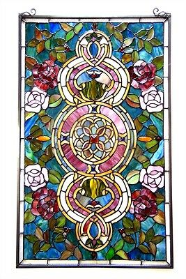 """Tiffany Style Stained Glass Window Panel Floral Medallion Design 20"""" W X 32"""" L"""