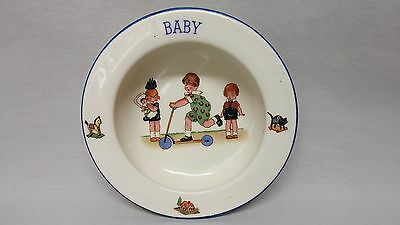Czechoslovakia Baby Dish Bowl Toy Scooter Doll Rocking Horse Googly Eye Children