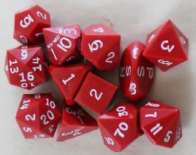 Gamescience Dice Full Poly Set Red w/White Ink (12) (Limited Edition) MINT