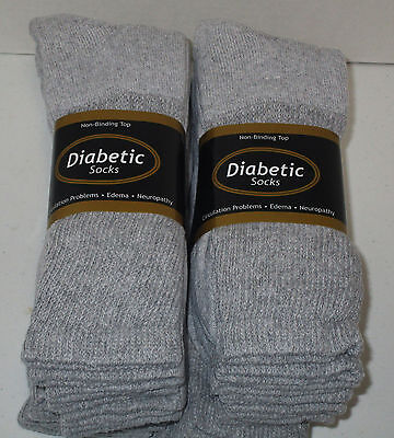 Diabetic Socks 6 Pair Gray Crew Size 10/13  Non- Binding Top ( Made In U.s.a.)