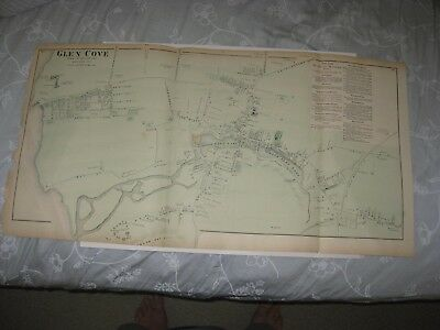 Large Superb Vintage Antique 1873 Glen Cove Long Island New York Handcolored Map