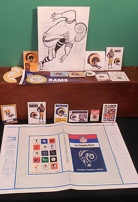 Los Angeles Rams logo lot 18 collectible items Panini Popsicle Leaf Coke Huddles