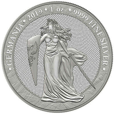 1 OZ Silberunze Germania 1 Unze Silber 5 Mark Silver BU 2019 in Kapsel