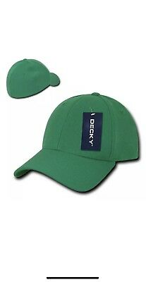 13518def9e8 Decky Flex Elastic Fitted 6 Panels One Size High Crown Baseball Hats Green