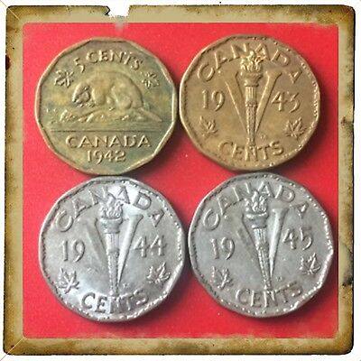 🇨🇦 1942-1943-1944-1945-  Victory Nickels Canada five cents   Coins #1438 🇨🇦
