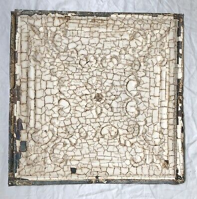 "12"" x 12"" Antique 1890's Tin Ceiling Tile Reclaimed Meta Tan 14-19"