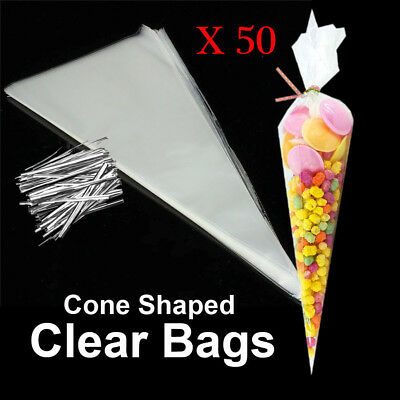 50pcs Clear Cellophane Cone Bags Twist Ties Large size Party Sweet Cello Candy