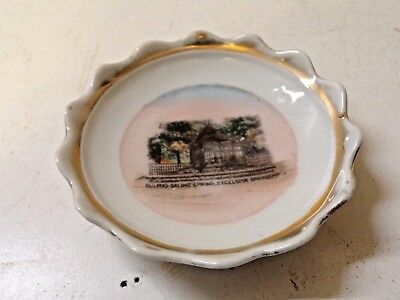 Small Old China Souvenir Plate  Sulpho Saline Spring Excelsior Springs MO