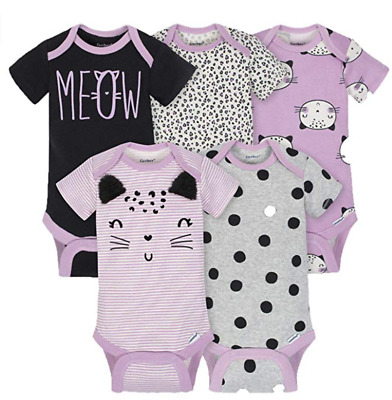 Baby Girl Lot of 5 Onesie Cats Meow Purple NWT Gerber NB 0-3 3-6 6-9