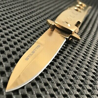 "9"" Tac Force Gold Super Knife Godfather Milano Spring Assisted Tactical Blade"