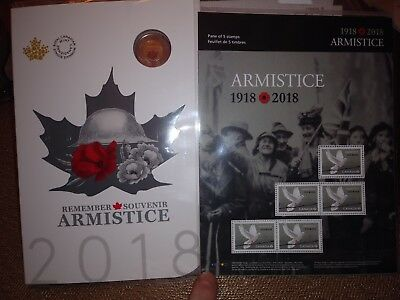 Canada 1918-2018 Armistice 6-Coins Set w/ Collector Card and 5 stamp pane