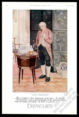 1928 Dewar's Scotch Whisky The Butler painting vintage print ad