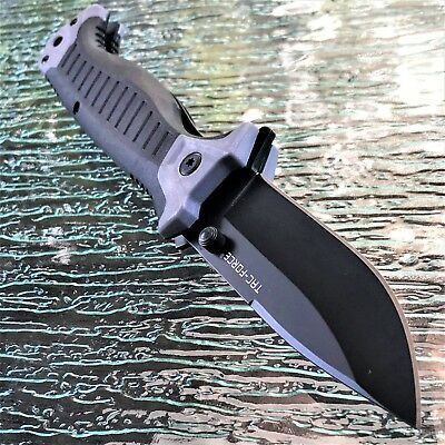 TAC FORCE SPRING ASSISTED GRAY POCKET KNIFE Tactical Open Folding Blade MILITARY