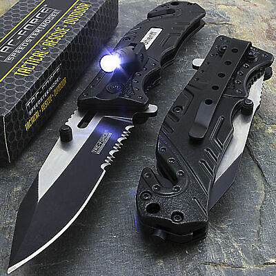 TAC FORCE Black SHERIFF Spring Assisted Open LED Tactical Rescue Pocket Knife