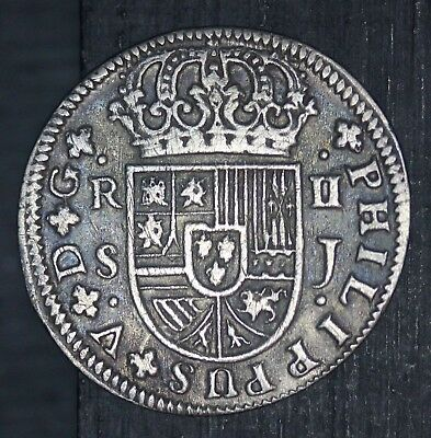 1724 S J Spain 2 Reales Silver Coin - KM# 307 - NICE QUALITY