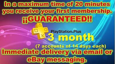 PS Plus Subscription 3 months (7 accounts) Shipping in 20 min (READ DESCRIPTION)