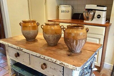 Three Antique French Provençal Confit Pots, Available Together Or Separately.
