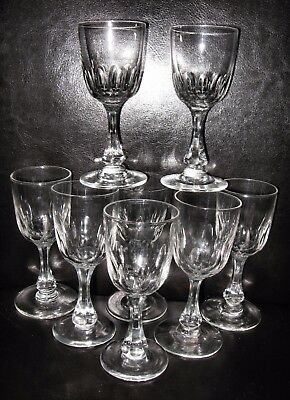 Set 8 Victorian sherry port claret wine glasses wheel cut lens design antique