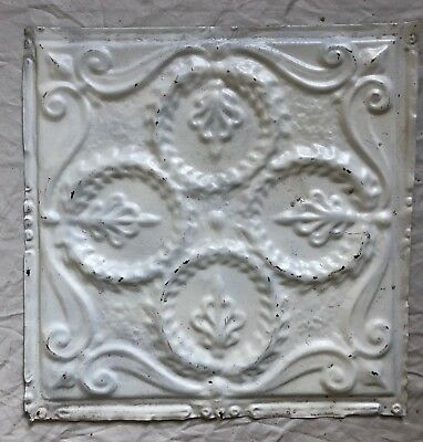 1890's 12 x 12 Antique Tin Ceiling Tile White Metal Reclaimed  24-19