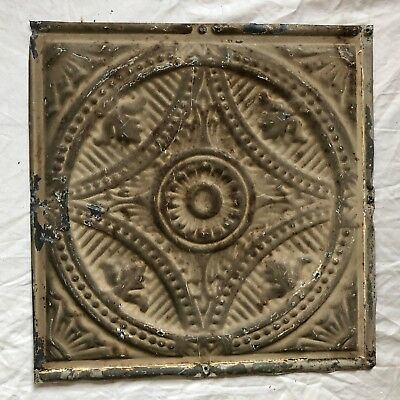 1890's 12 x 12 Antique Tin Ceiling Tile Brown Metal Reclaimed  27-19