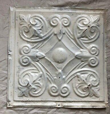 1890's 12 x 12 Antique Tin Ceiling Tile White Metal Reclaimed Anniversary 31-19