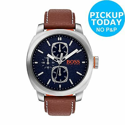 Hugo Boss Orange Blue Dial 46mm Brown Leather Strap Analogue Watch