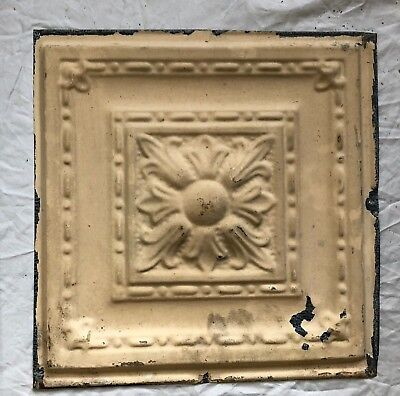 1890's 12 x 12 Antique Tin Ceiling Tile Tan Metal Reclaimed Anniversary 32-19