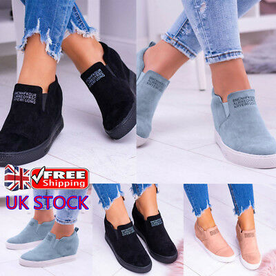 Womens Ladies Slip On Sneakers Trainers Wedge Heels Pumps Casual Shoes Size UK
