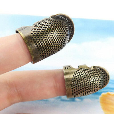 Gold DIY Crafts Handworking Antique Ring Metal Needle Thimble Finger Protector