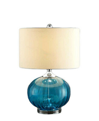 Blue Mercury Glass Table Lamp Chrome Plated Metal Accents White
