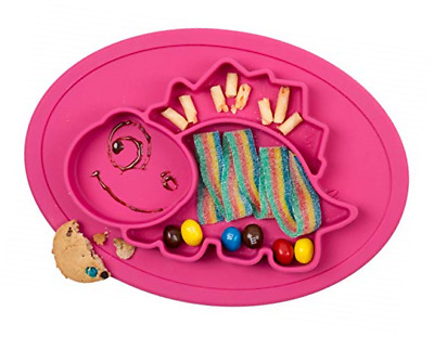 Qshare Toddler Plate, Baby Plate for Babies Toddlers and Kids, 1Dinosaur-Red