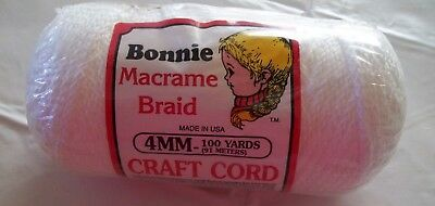 Bonnie Macrame Braid Polypropylene Craft Cord 4MM100yds 91meters Sealed