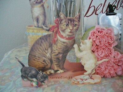 3 - Vintage 2000 Shackman Victorian Cat Greeting Cards 3-D  with envelopes NEW