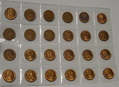1c Australian coins set complete 1966 to 1990 except for 1986.