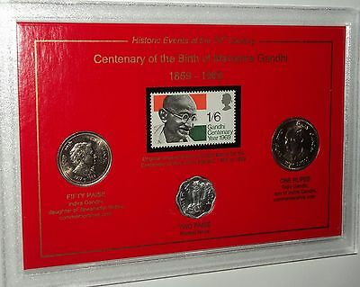 Centenary of the Birth Mahatma Gandhi India Rupee Coin Stamp Gift Set 1869-1969