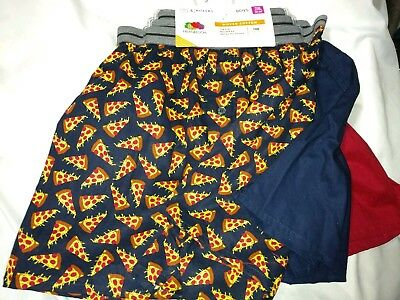 Boys 2xl  XXL Boxer Briefs 3 pack Fruit Of The Loom navy pizza print. New