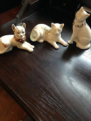 Great Lot Of Three Beautiful Lenox Jeweled Cats With Free Shipping