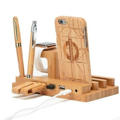 Bamboo Wood 4 Port USB Charging Dock Station Stand Holder For Smart Phone/Tablet