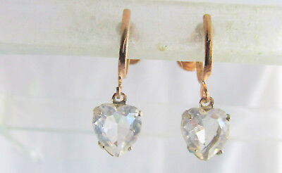 Vintage Art Deco Rock Crystal Glass Heart Pendant Earrings Gold Plated Screws