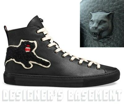 d7ffcd51c5e GUCCI 8.5G black leather PANTHER Angry Cat MAJOR high top Sneakers NIB Auth   695