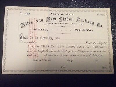 Niles and New Lisbon Railway Co.1870. Free Shipping