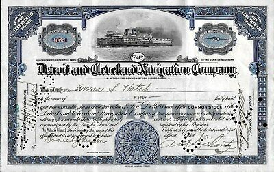 Detroit & Cleveland Navigation Co common stock, issued to Anna S. Hatch 1925
