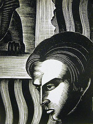Lynd Ward 1930 EGYPTIAN SCHOLAR EGYPT SPHINX STUDENT Art Deco Print Matted