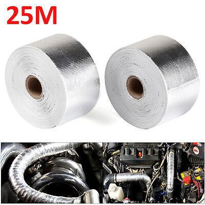 "2PCS 2"" x 5M Silver Exhaust Heat Wrap Manifold Downpipe High Temp Bandage Tape"