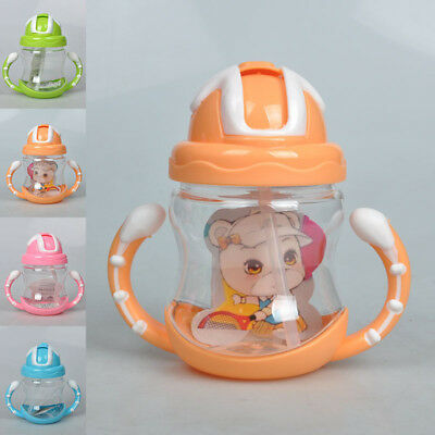 320ML Horn Handle Baby Child Toddler Drinking Straw Water Kettle Bottle Portable