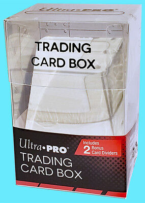 ULTRA PRO 100 TRADING CARD STORAGE BOX w/ 2 DIVIDERS Sports Clear Case Sleeved