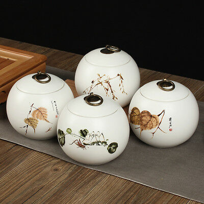 4Pcs hand-painted ceramic tea caddy ceramic canister buckle seal tea box A